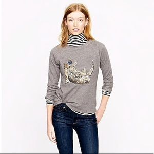J. Crew Sequin Rhino Sweatshirt L